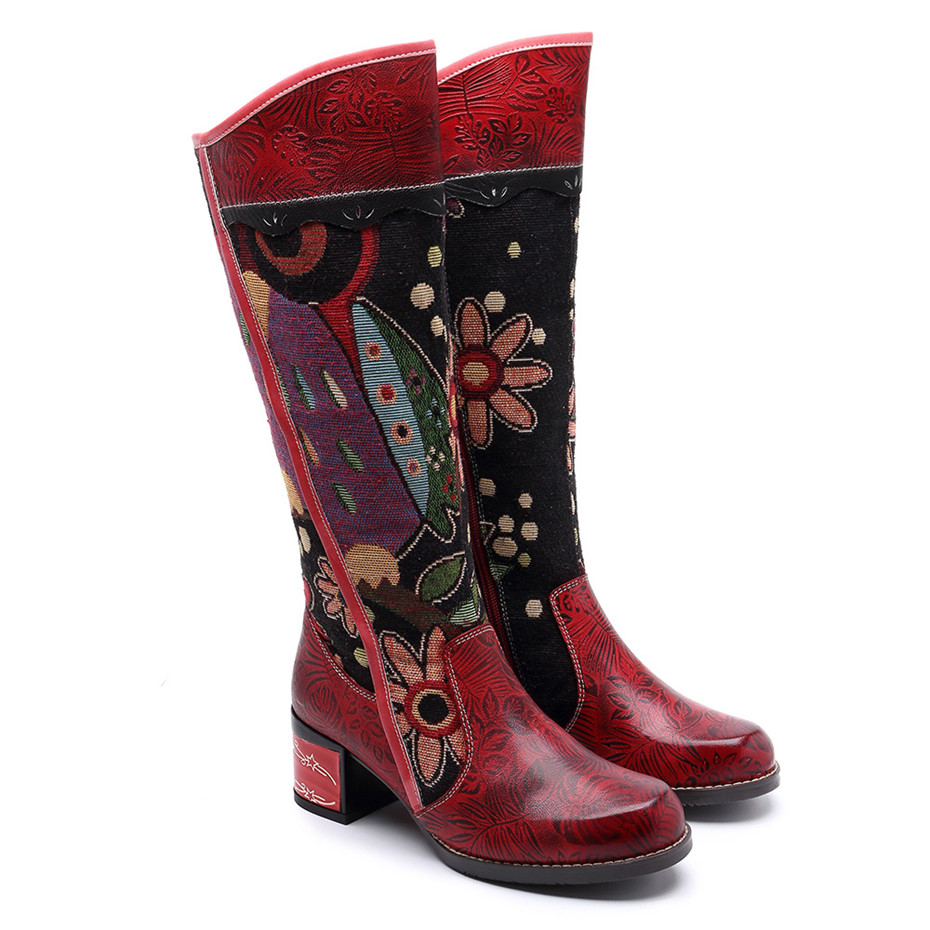 Fashion Patchwork Western Cowboy Boots Women Shoes Bohemian Genuine Leather Shoes Woman Vintage Side Zip Knee High Riding Boots (13)