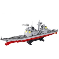 883pcs Military Series Army Navy Warship Building Blocks Cruiser Plane Carrier Models Compatible Legoings Intelligence Toy