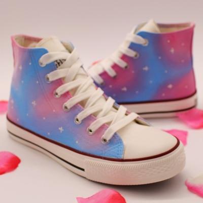 Casuales Zapatos Pintados Mano Iris Un 1 Caramelo Con Couleur De 2 Arco Harajuku Plana Alta Lona Coreana Marea fxrIwxEZ