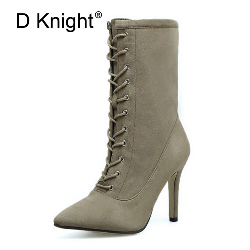 Flock New 2017 Autumn Pumps Shoes Women Sexy Mid-Calf Boots Suede Thin Heels Boot Shoes Woman Fashion Pionted Toe Black Boots double buckle cross straps mid calf boots