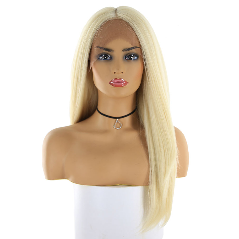 613 Blonde Synthetic Hair Wigs For Women X TRESS Long Straight Swiss Lace Front Hairpiece Middle Part Trendy Cosplay Lace Wig-in Synthetic Lace Wigs from Hair Extensions & Wigs    2