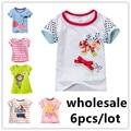 6 pçs/lote 2017 meninas T-shirt do bebê dos meninos de algodão t shirt do verão de manga curta roupa dos miúdos para crianças pano de manga curta Tees