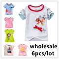6pcs/lot 2017 girls T-shirt baby boys cotton t shirt summer short sleeve kids clothes for children cloth short sleeve Tees