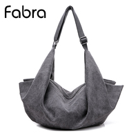 Fabra New Women Canvas Handbags Fashion Solid Big Capacity Shoulder Hobo bags Tote Casual Back Packs