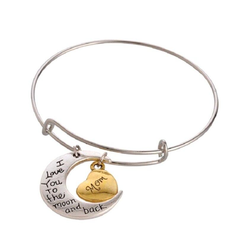 I Love You Letter Print pendant Bangles For Mom Engraved Letters Women Metal Ethnic Silver Color Moon Star Pendant Bracelet