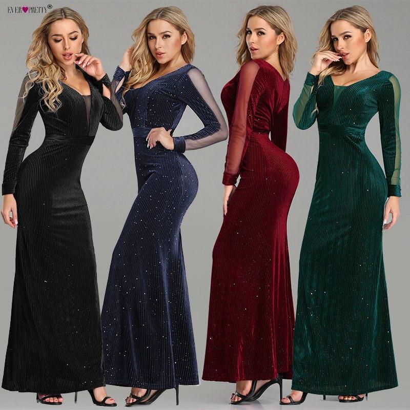 96f1df134 Comprar Negro noche vestido De noche manga larga bonito EP07394BK poco  elegante sirena otoño Formal vestidos fiesta vestido De fiesta 2018 Online  Baratos.