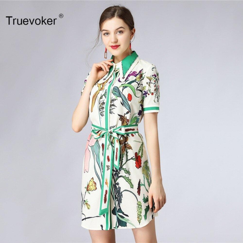 Truevoker Designer Europe Summer Fashion Dress Womens Noble Short Sleeve Peter Pan Collar Diamond Colourful Printed Dress