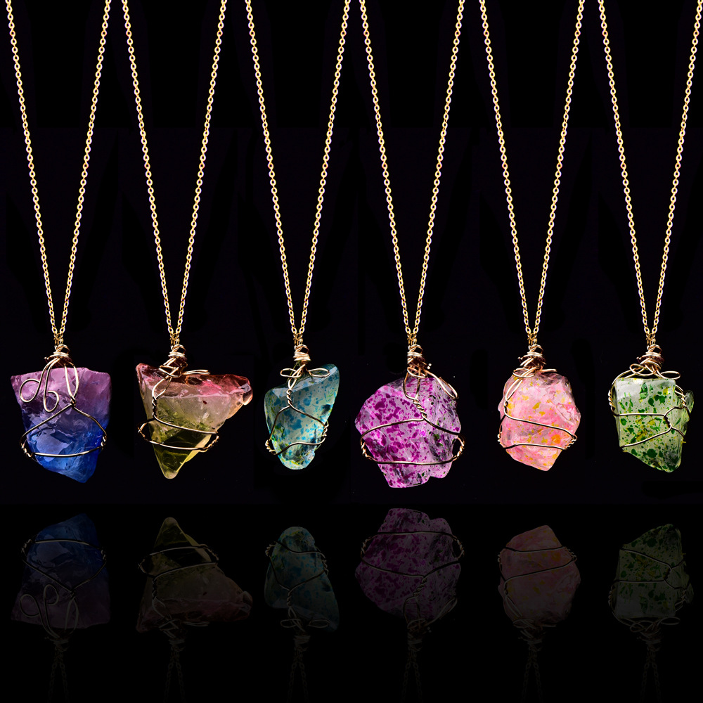 Fashion Rainbow Natural Stone Pendant Necklace Crystal Chakra Rock Necklace Gold Color Chain Quartz Long Necklace For Women Gift