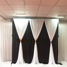 White And Black Ice Silk Wedding Backdrop Curtain With Valance Drapery Stage Background Event Banquet Decoration