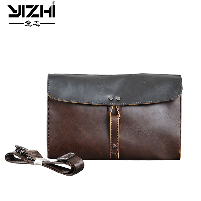 YIZHI 2018 Business Men's Briefcase Built-in Phone Bag High Quality PU Leather Shoulder Bags Computer Bag