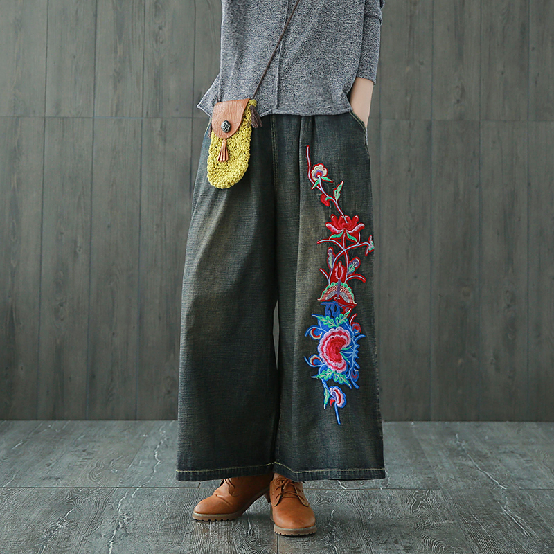 2017 Loose Wide Leg Pants Women Trousers Casual Fit Vintage Floral Embroidery Denim Pants Mid Waist Jeans Women Vaqueros women casual vintage wash straight leg loose fat girls trousers pants denim overall suspender jeans
