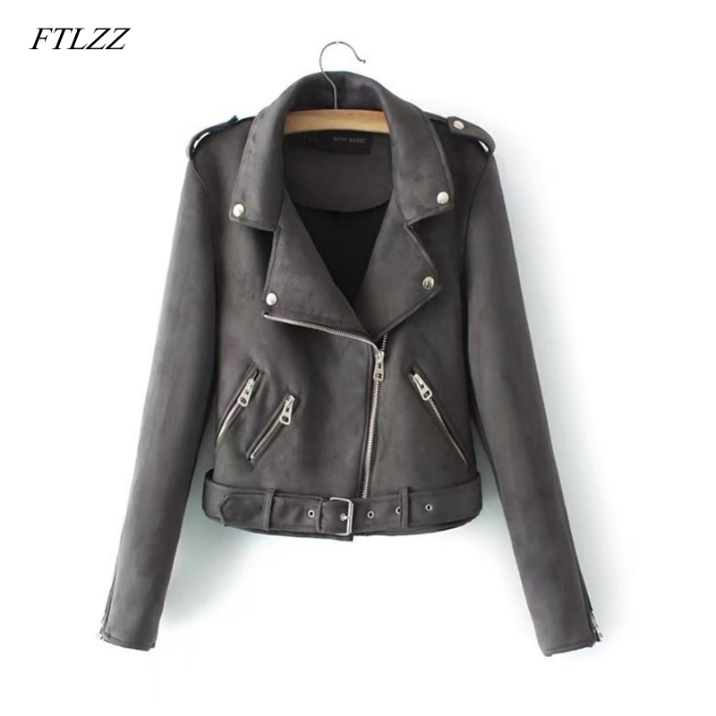 Ftlzz New Autumn Women Faux   Suede   Jacket Coat Women Slim With Belt Zipper Female Short Punk Soft   Leather   Outwear