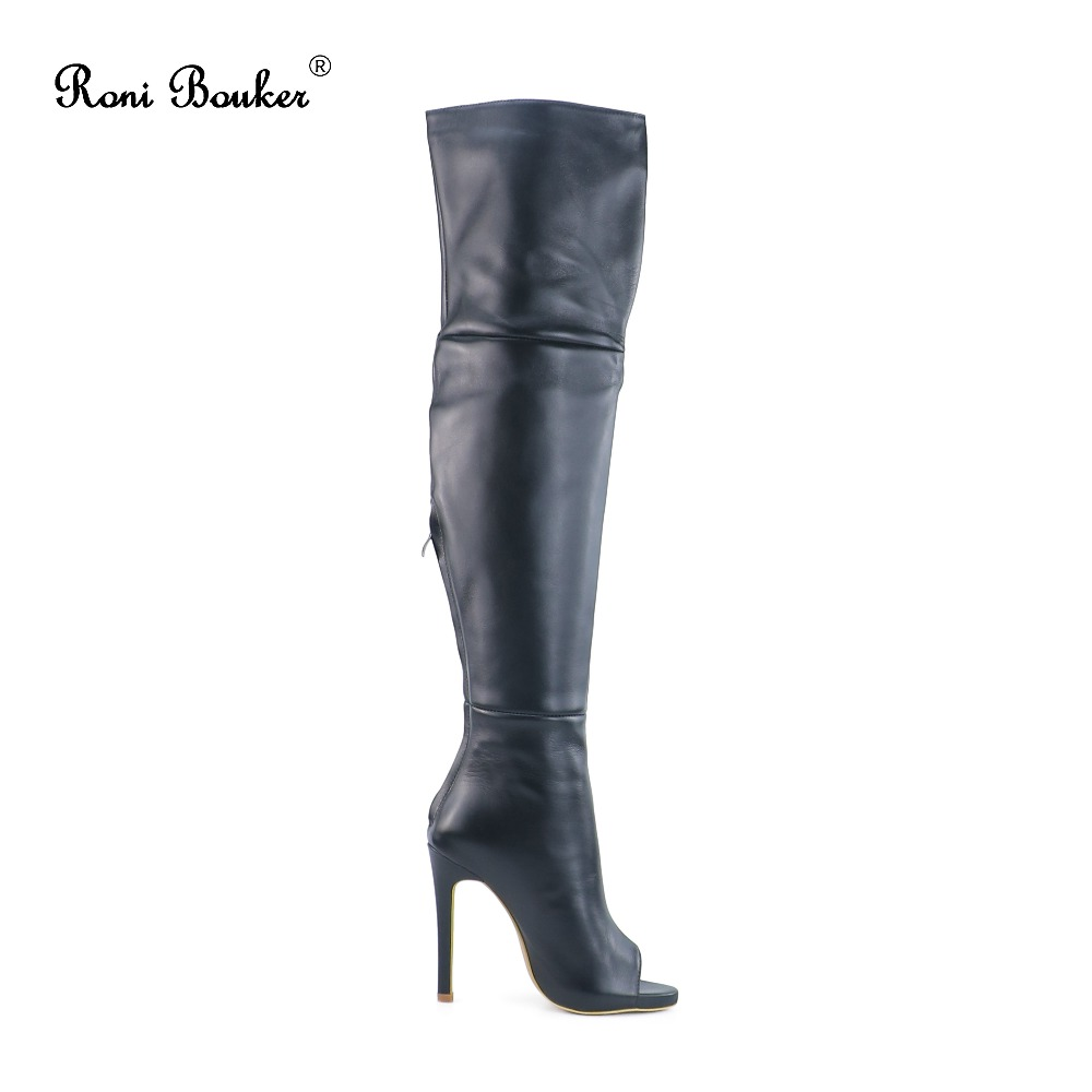 Sur Le Bootstop La Genou Size42 Femme Haute Véritable À Talon Cuir Black Qualité Plus Hiver Main Automne Serré Noir Femmes Boot dwqxCxz5