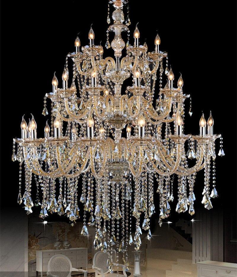 Di grandi dimensioni Retrò cognac cystal lampadario led lustre luce soggiorno lampada a sospensione chiesa 24-32 arms di lusso lampadario Albergo lampade