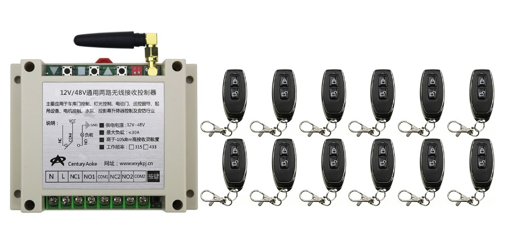 ФОТО New DC12V 24V 36V 48V 10A 2CH 2Channe RF Wireless Remote Control Switch teleswitch With 12*metal Transmitter For Learning code
