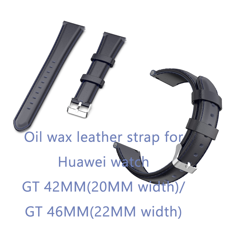 ECSEM 2019 new oil wax leather strap for Huawei GT watch accessies bands for GT watch 42MM 46MM leather wristband bracelet in Smart Accessories from Consumer Electronics