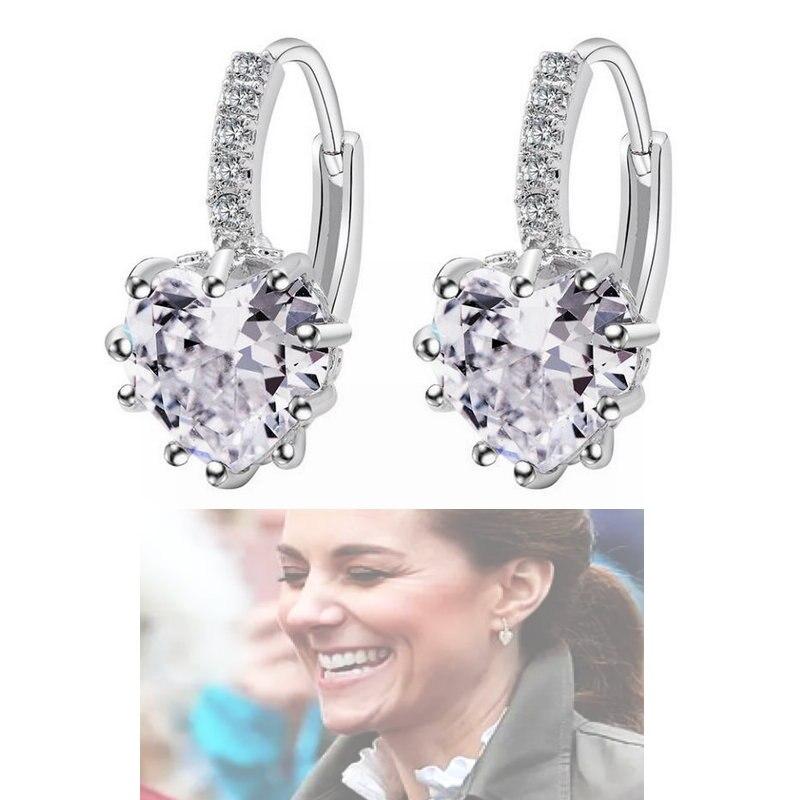 New Fashion AAA Zircon Earrings Princess Kate Peach Heart Ear Buckle Royal Jewelry European And American Popular Women Earrings