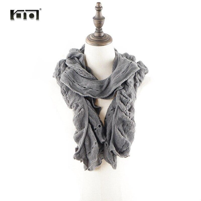 Foulards en mousseline de soie Pour Les Femmes 2018 Coton Col Écharpe  Tricoté Hiver Femme A 4f3c4c48736