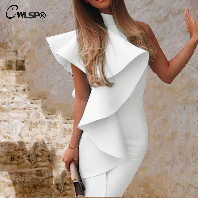 CWLSP 2019 White Dress Ruffles Female Solid Ribbed Dress Vestidos Casual Slim Dresses Fashion Style Mock-neck Backless QZ2866
