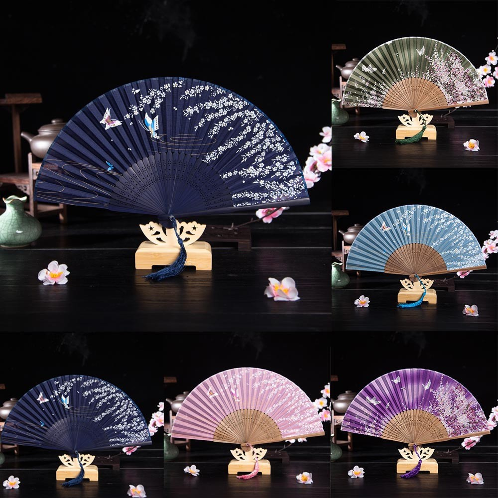 Summer Chinese Flower Silk Spanish Style Lace Folding Hand Held Flower Fan Wedding Dancing Party Prom Colorful Dropshipping #