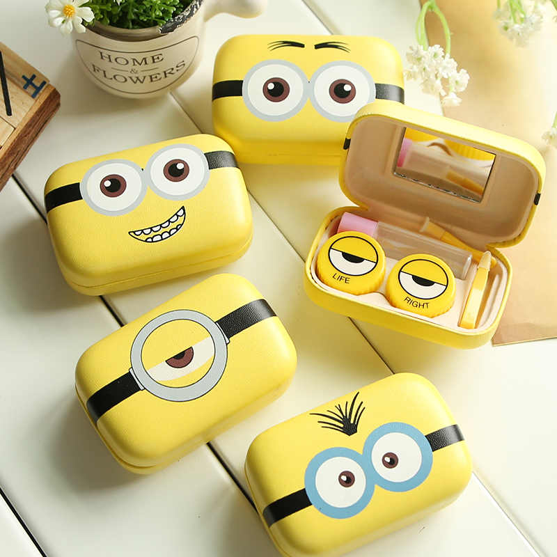 Minions Cartoon Contact Lens Case For Women Leather Hard Contact Lenses Box Cute Eyeglass Case Lens Container Christmas Gift