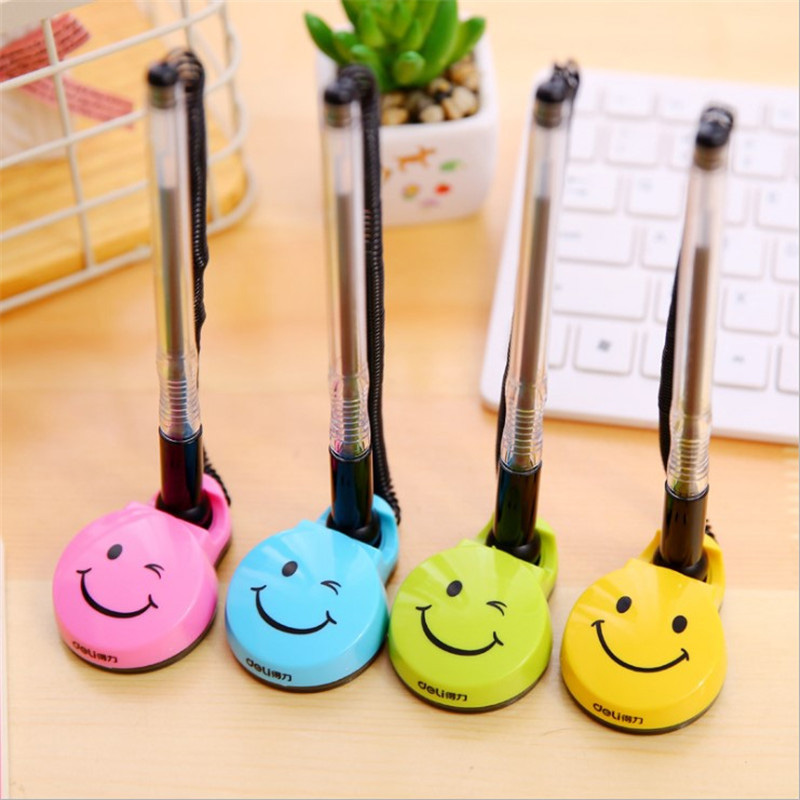 Stationery 0.5 Cute Creative Cartoon Smiley Gel Pen Bank Counter Front Desk Fixed Neutral Pens For Writing Office Supplies Pens