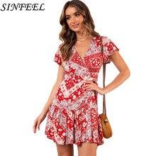 Sexy V Neck Ruffles Boho Wrap Dress Women Short Sleeve Summer Dress Party Floral Print Bow Causal Mini Beach Dress Vestidos цена и фото