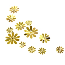 12 Pcs/Set New 3D Mirror Flower Wall Stickers Party Wedding Decor For Home Decorations Sticker On The Wall 12pcs set new arrive mirror sliver 3d butterfly wall stickers party wedding decor diy home decorations wall sticker 5 colors