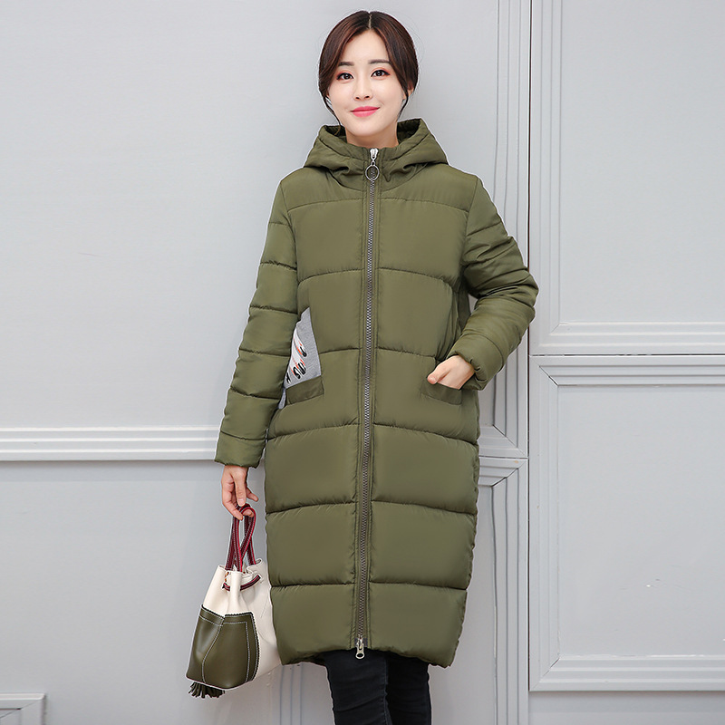 2017 New Autumn Winter Casual Parkas Pattern Hooded Coat Girls Long Thick Cotton Padded Jacket Plus Sizes Female Outwears XL-4XL 2017 new casual parkas long winter coat big fur collar hooded thick loose jacket cotton padded jackets female outwear plus sizes