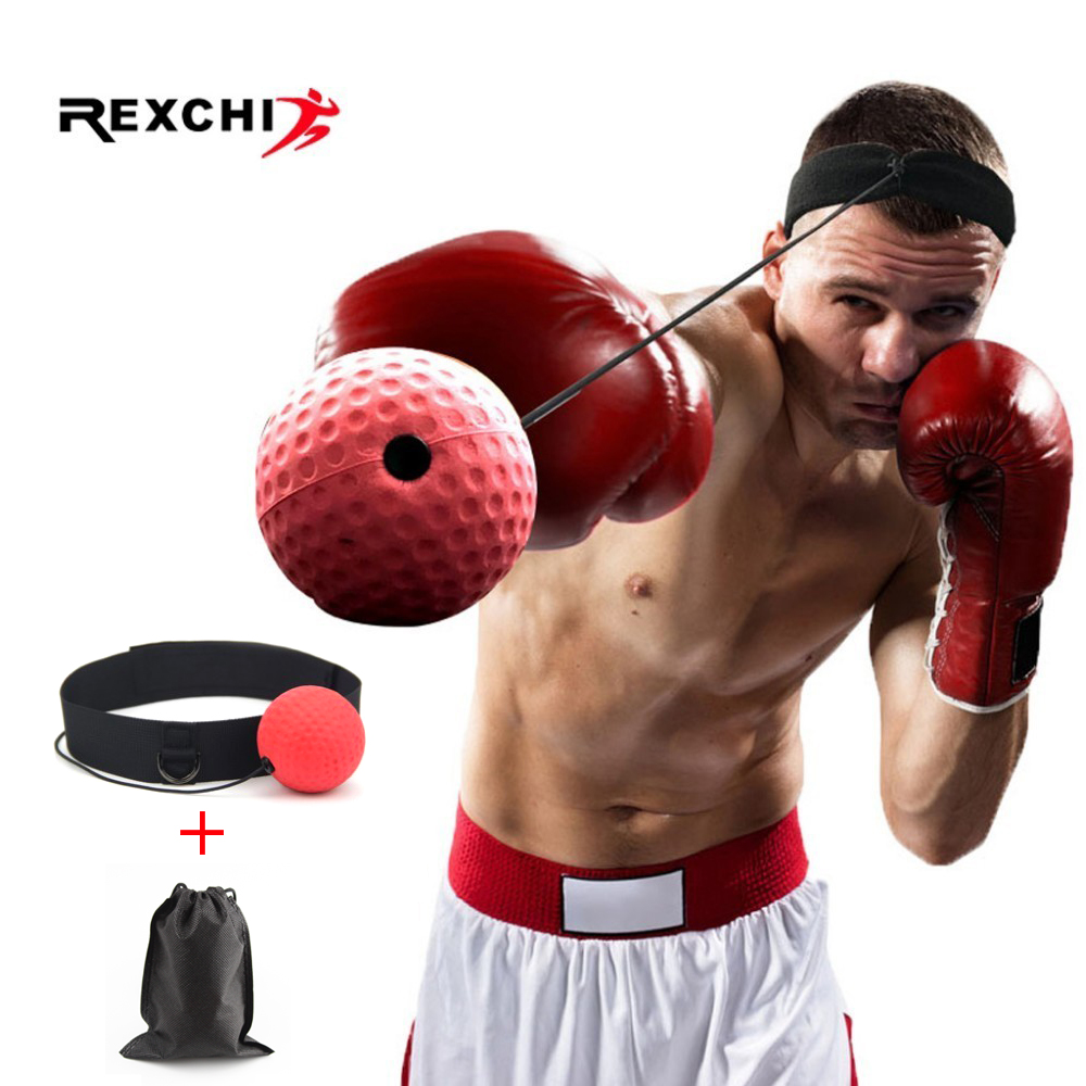REXCHI Kick Boxing Reflex Ball Head Band <font><b>Fighting</b></font> Speed Training Punch Ball Muay Tai MMA Exercise Equipment Sports Accessories image