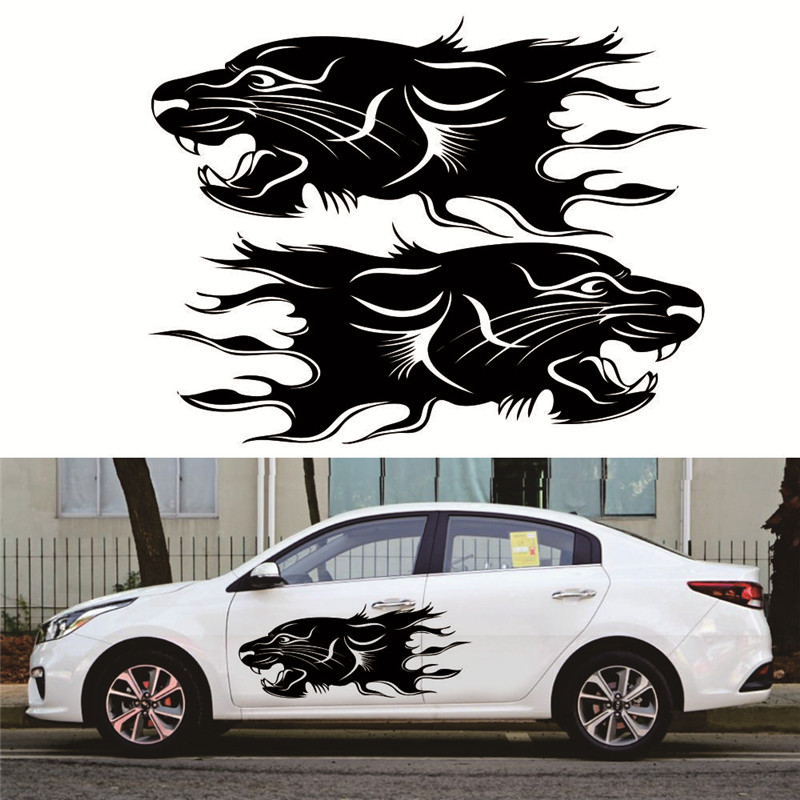 2pcs Lion Bumblebee Totem Car Sticker Car Body Racing Side Door Long Stripe Stickers Auto Vinyl Decal Car Body Sticker