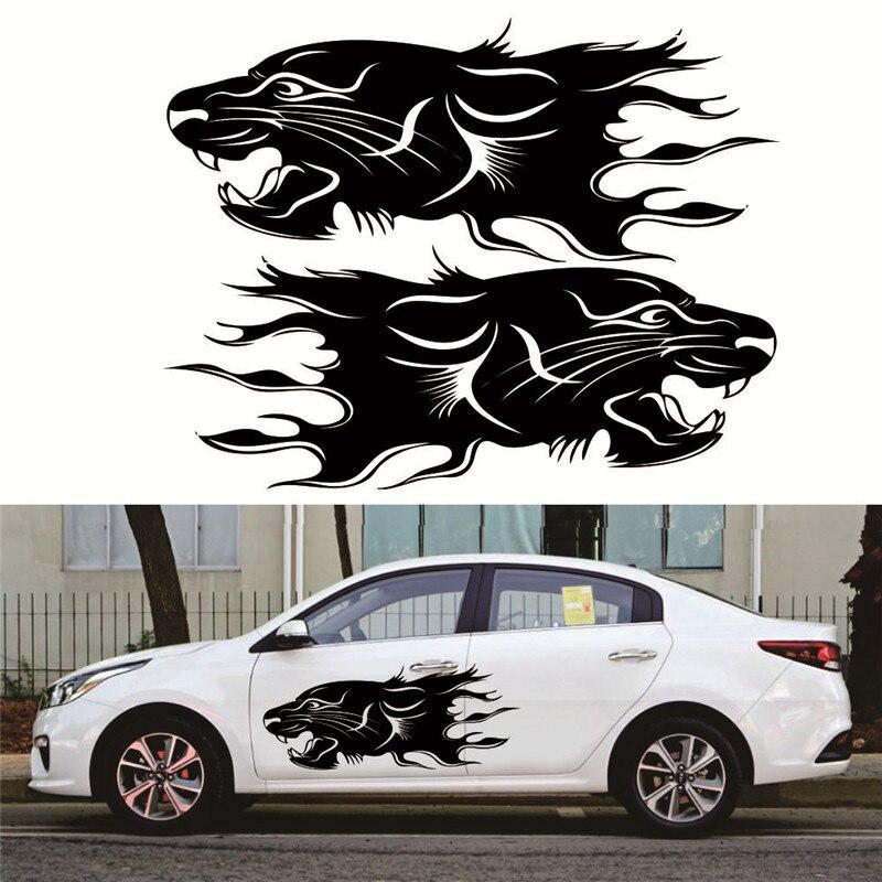 2pcs Lion Bumblebee Totem Car Sticker Car Body Racing Side Door Long Stripe Stickers Auto Vinyl Decal Car Body Sticker