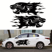 2pcs Lion Bumblebee Totem Car Sticker Body Racing Side Door Long Stripe Stickers Auto Vinyl Decal