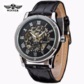 Erkek Saat Winner Mechanical Watch Men Top Brand Hollow Skeleton Automatic Mechanical Watch Steampunk Leather Watch Gear Watch