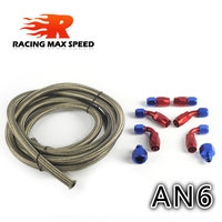 AN6 Oil Fuel Fittings Red & Blue Hose End Oil Adaptor Kit AN6 Stainless steel Braided Hose Oil Fuel Hose Line 3M