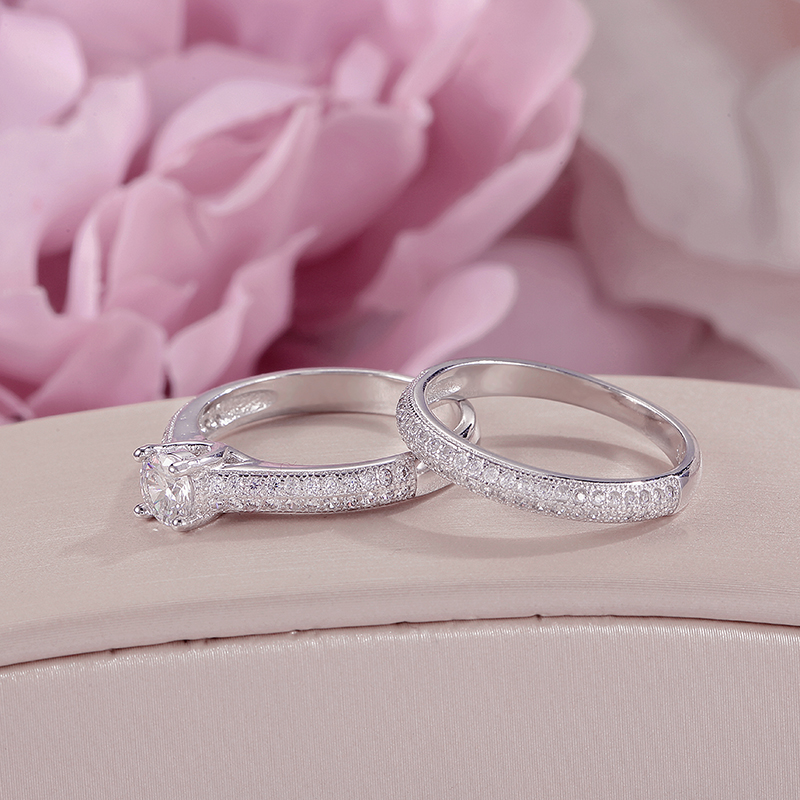 100 Real 925 Silver Rings For Women Simple Double Stackable Fine Jewelry Bridal Sets Ring Wedding 100% Real 925 Silver Rings For Women Simple Double Stackable Fine Jewelry Bridal Sets Ring Wedding Engagement Accessory
