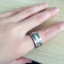 Korea 6 Crystal HOT NEW Fashion Jewelry top sliver turn calendar ring men's women's Made of Stainless steel BC-0042