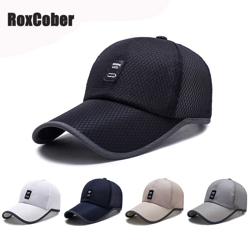 dadbc7d6f4094 RoxCober Summer Unisex sports leisure Adjustable Mesh breathable Baseball Caps  Snapback Caps Extended hat Quick drying