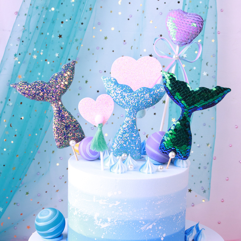1 Pc New Birthday Cake Toppers Cute Glisten Party Supplies Mermaid Theme Party Cupcake Decor Mermaid Tail Sequins Pearl Topper glass bottle