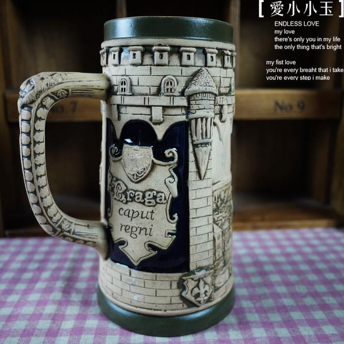 US $36 45 10% OFF|European Style Ceramic German Beer Mug St  Vitus  Cathedral Hand Painted Mugs Embossed Pattern Coffee Cup 8*14*19cm-in  Statues &