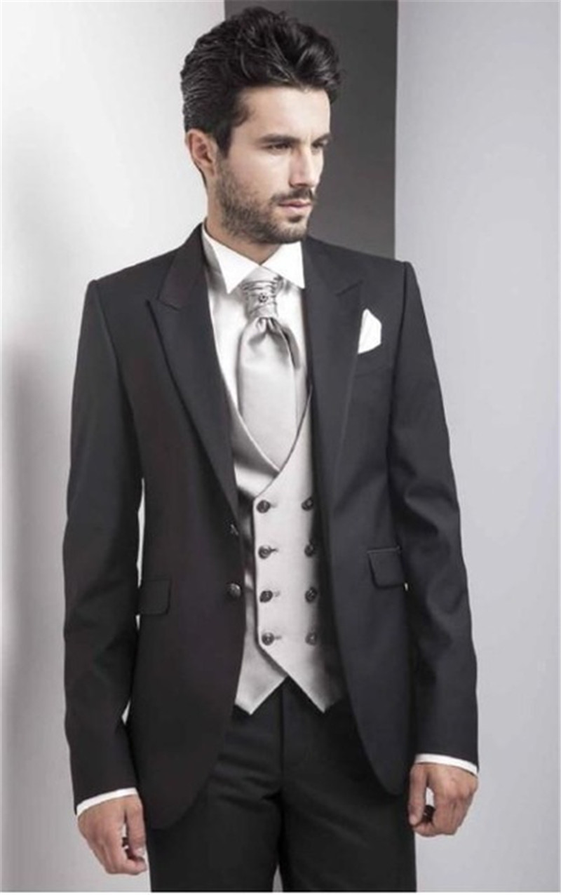 Black Italy Men Suits With Double Breasted Vest 2019 Elegant Best Men Wedding Tuxedos Men's Party Suits (Jacket+Pants+Vest+Tie)