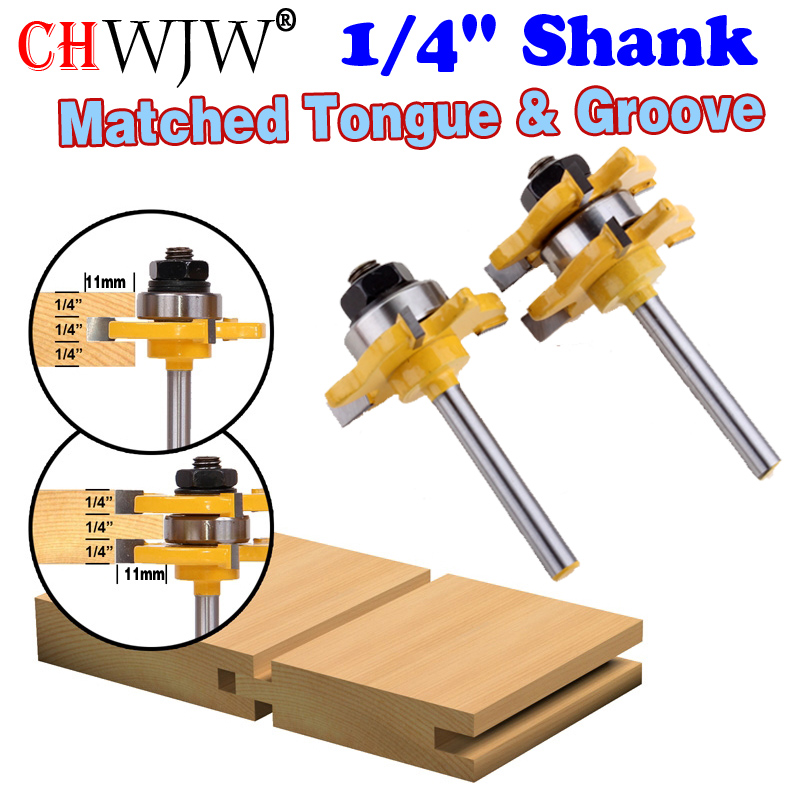 2Pcs 1/4 Shank Matched Tongue & Groove Router Bit 3/4 Stock 3 Teeth T-shape Wood For Woodworking Tool high grade carbide alloy 1 2 shank 2 1 4 dia bottom cleaning router bit woodworking milling cutter for mdf wood 55mm mayitr