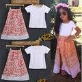 Мода Детские Дети Девушки Короткая рубашка + Юбка Цветочные Наряды Набор Платье 2-8Y