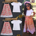 Fashion Baby Kids Girls Short shirt+Skirt Floral Outfits Set Gown Dress 2-8Y
