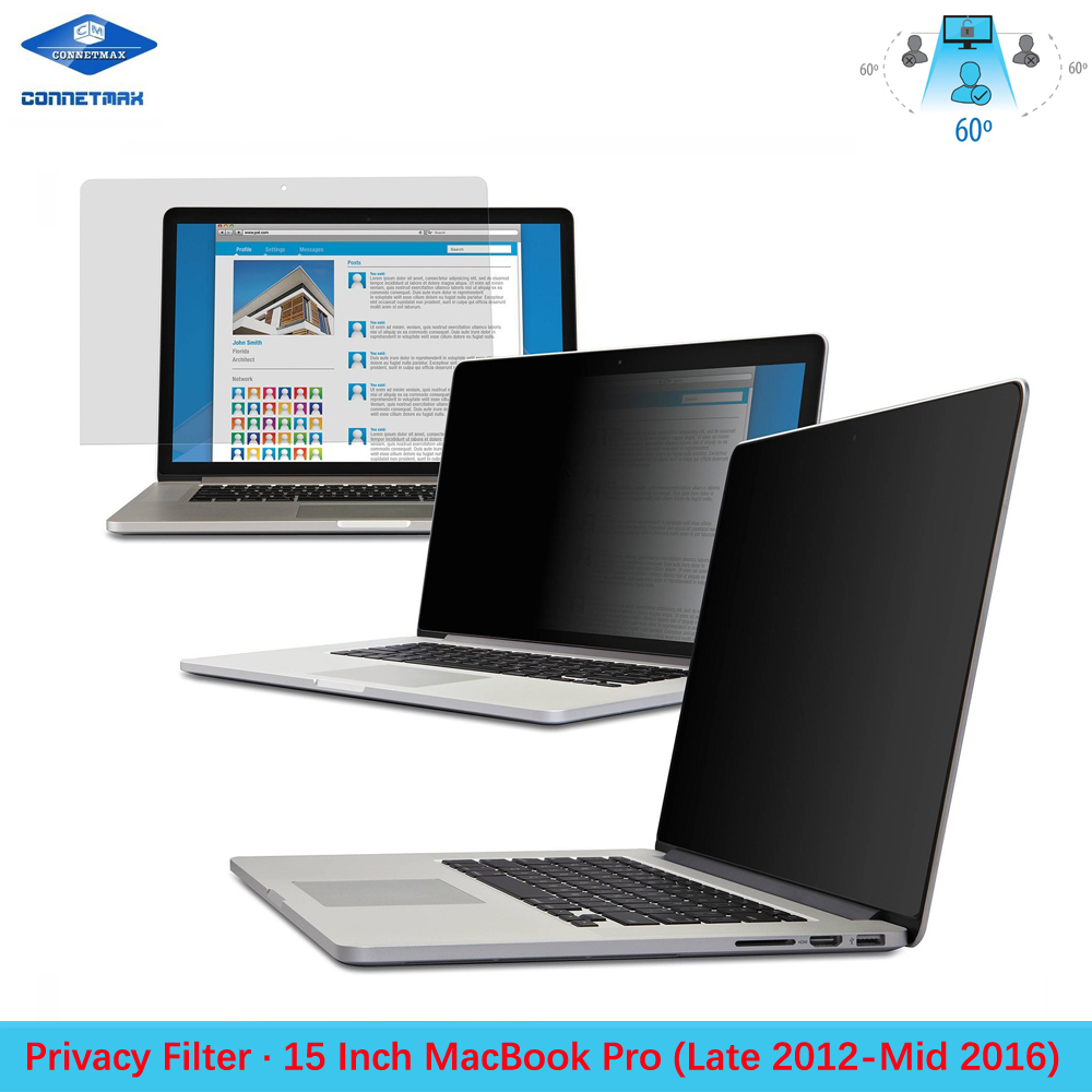 """Anti-Glare Laptop Privacy Filter Blackout for Apple MacBook Pro 15"""" With Retina Display"""