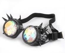 2017  Retro Round Kaleidoscope Sunglasses Men Women Designer  Kaleidoscope lens Glasses  steampunk sunglasses Cosplay goggles