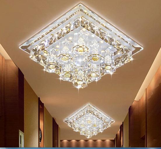 Lampe de plafond moderne à LEDs blanc froid 12 W intérieur lumière de luxe chambre décoration violet cristal cacher installation éclairage