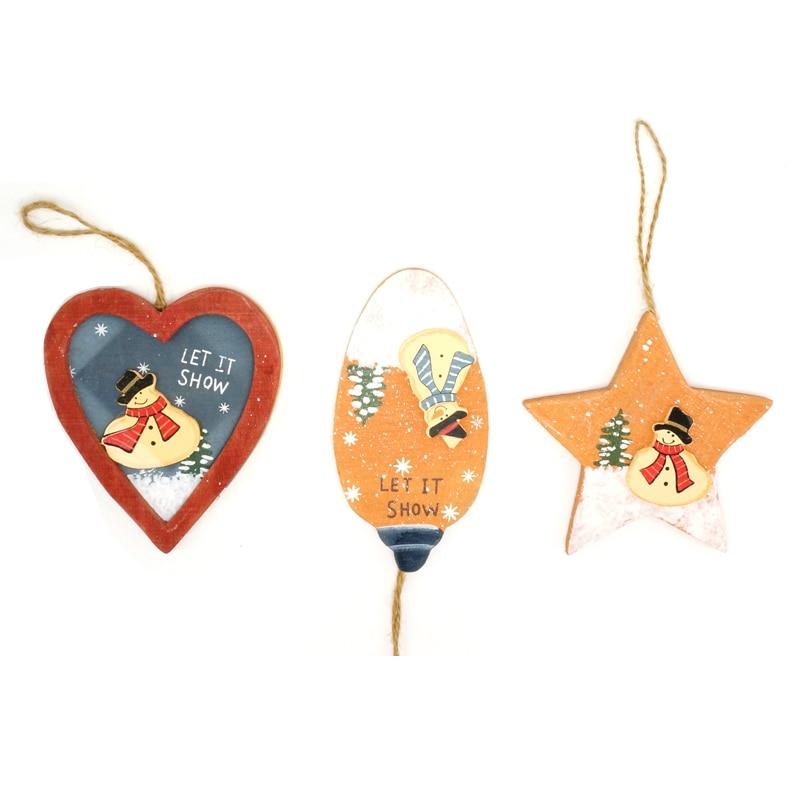 cheap Christmas ornament 6pcs wood craft Santa Claus ...