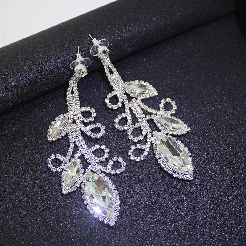 Dubbele schudden Crystal Flowe grote lange oorbellen opknoping pave - Feestversiering en feestartikelen - Foto 5