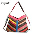 AEQUEEN Genuine Leather Women Striped Handbags Patchwork Shoulder Bags Ladies Colorful Stripe Crossbody Bag Random Color